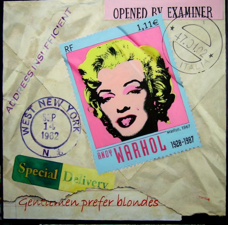 Marilyn ritagli olio su tela 100x100