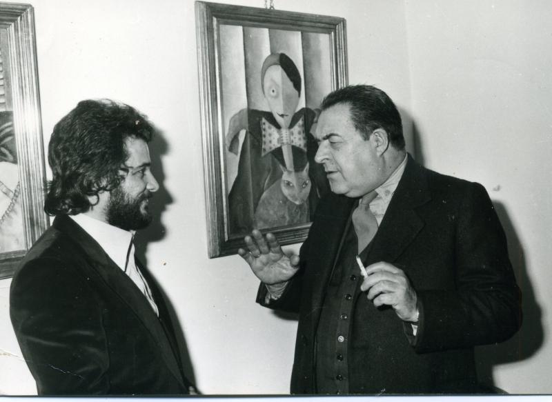 Il Maestro Gastone Breddo, Direttore dell'Accademia di Belle Arti di Firenze visita la mostra personale del Maestro G.B. Rotella