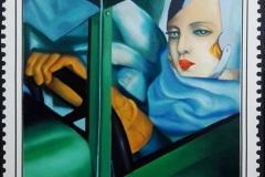 La bugatti verde, olio su tela 50x70